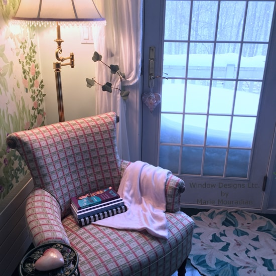 Sneak Peek into my home - My reading chair in my MOM cave. Window Designs Etc. by Marie Mouradian