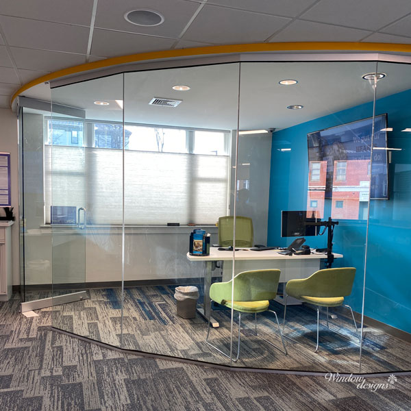 Commercial top-down Duette honeycomb shades at Fidelity Bank in Gardner, MA