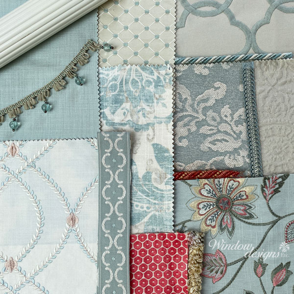 Designer fabrics and trims that coordinate with various colors, textures and styles.
