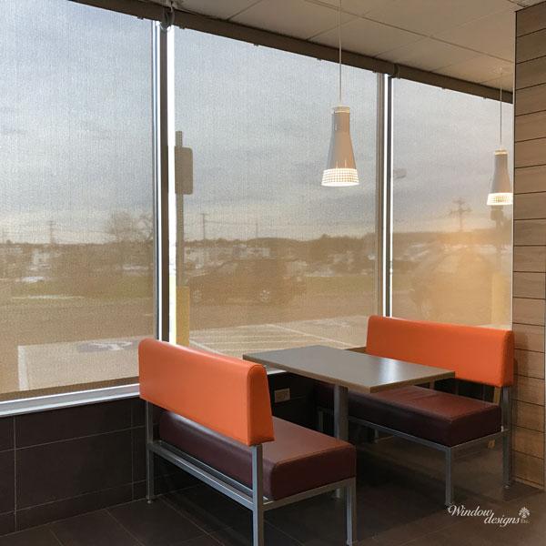 Motorized Screen Shades in McDonalds Restaurant - Westborough, MA