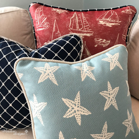 Custom throw pillows down filled with decorative cording Worcester, MA