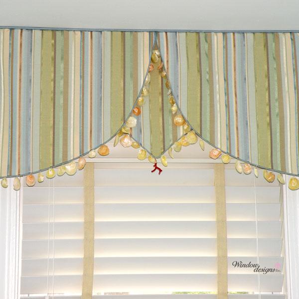 Stripe-shaped-valance-beach-shell-trim-window-blind-Yarmouth-MA