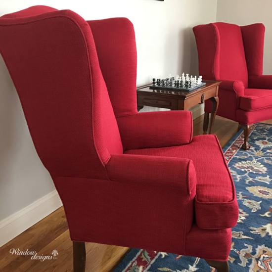 Red wing upholstered chairs recovered Holden, MA