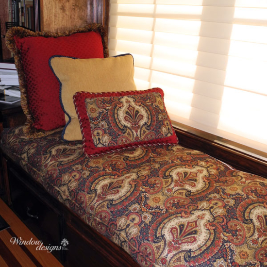 Window seat cushion with red and gold pillows Holden, MA