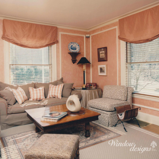 Worcester window treatments - Roman shade and wood blinds