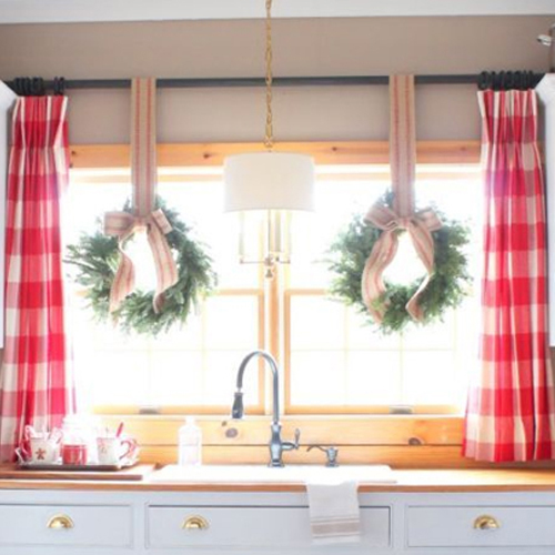 kitchen windows with red and white checkered drapes